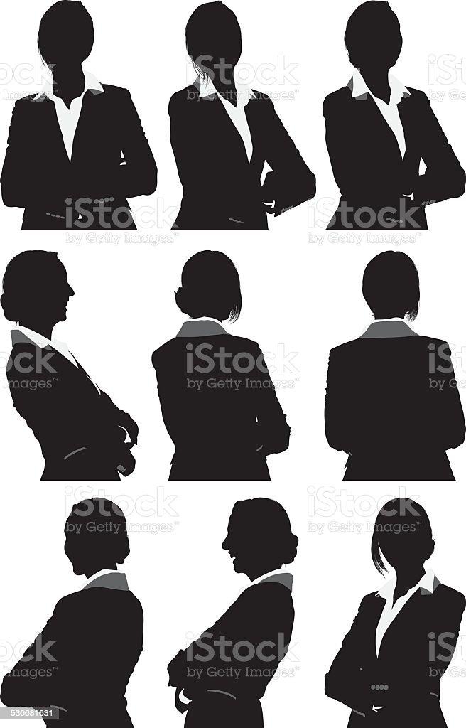 Businesswoman in 360 degree view vector art illustration