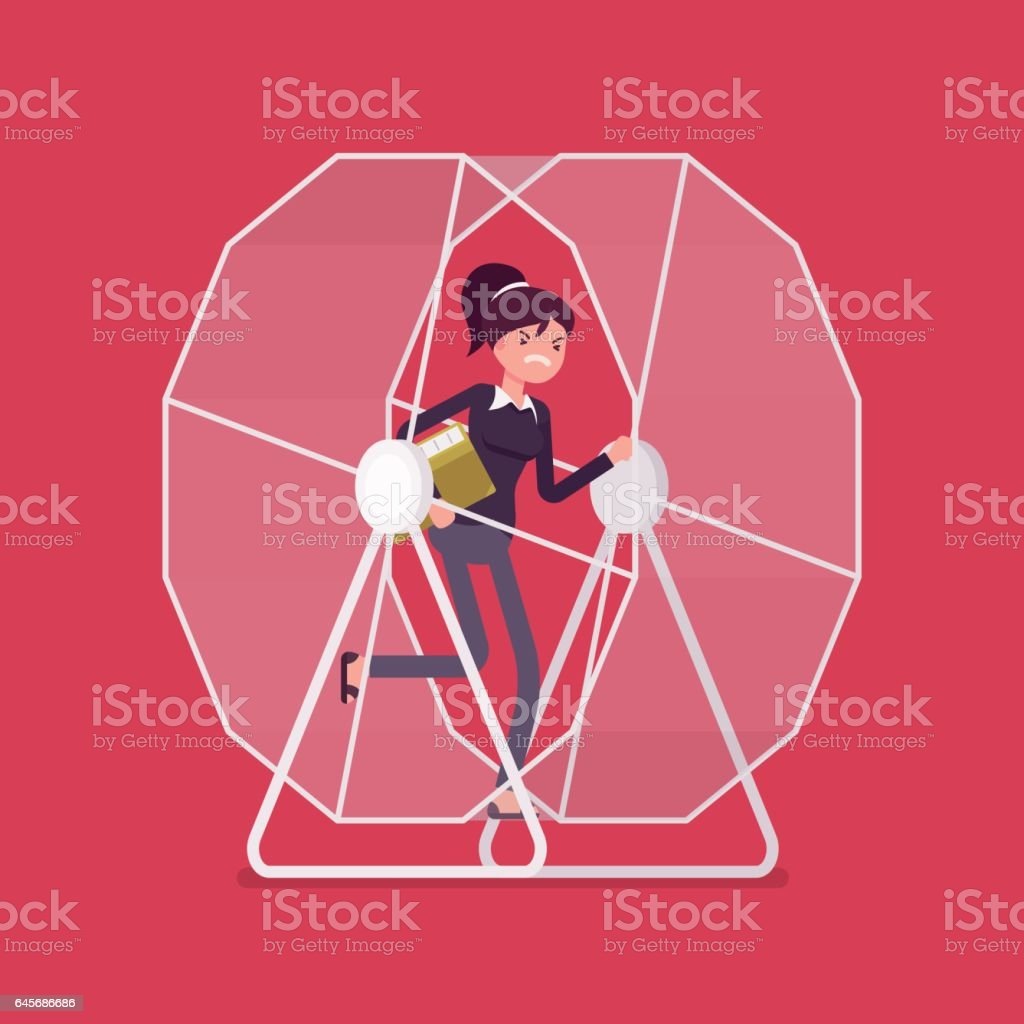 Businesswoman in a hamster wheel vector art illustration