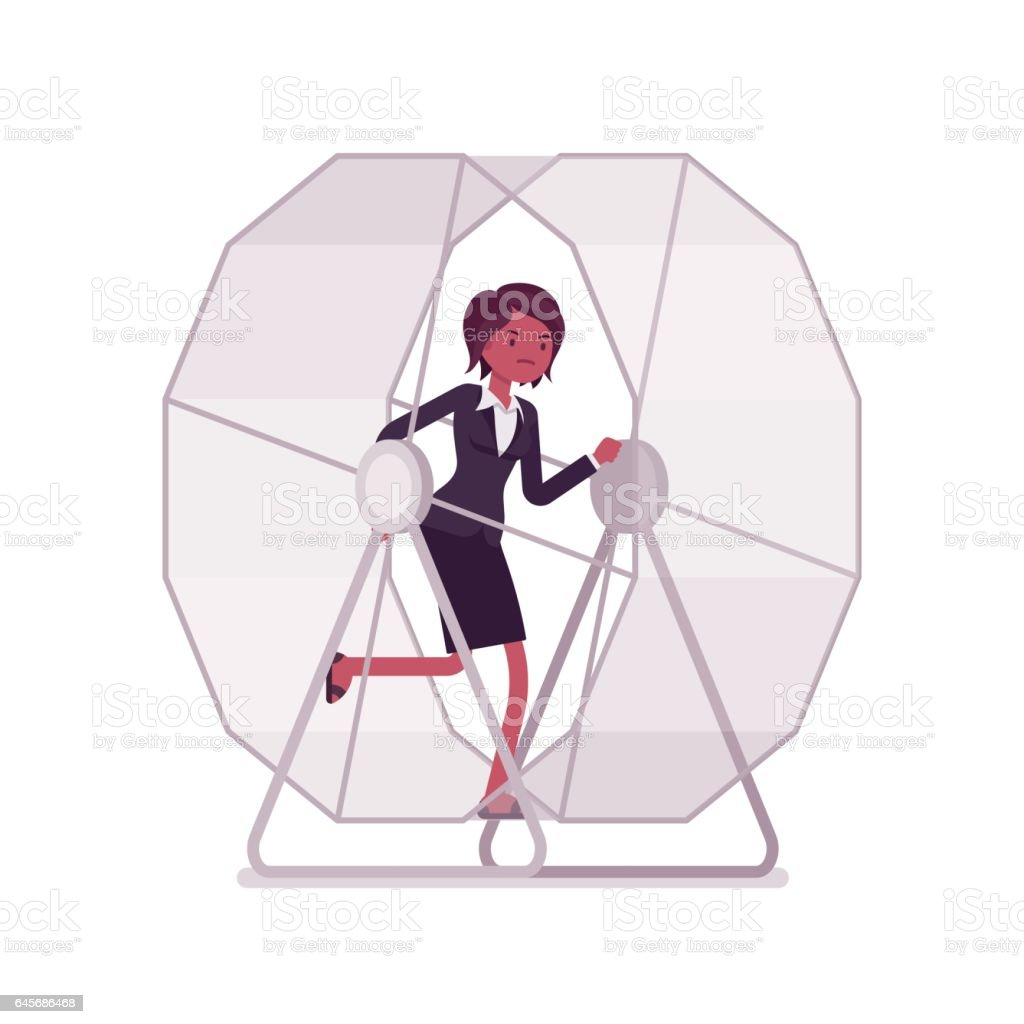 Businesswoman in a running wheel vector art illustration