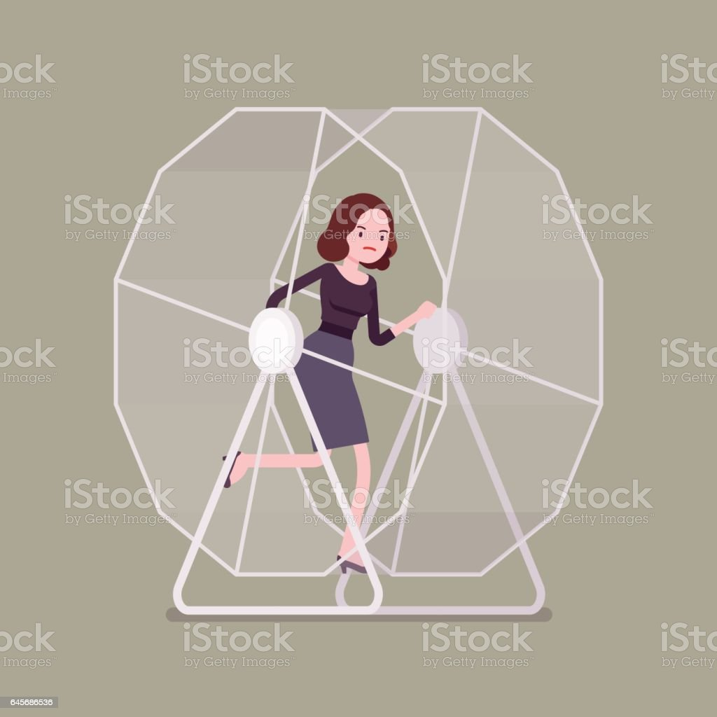 Businesswoman in a wheel vector art illustration