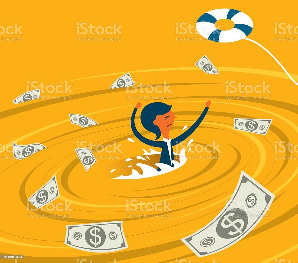 Businesswoman in a whirlpool vector art illustration