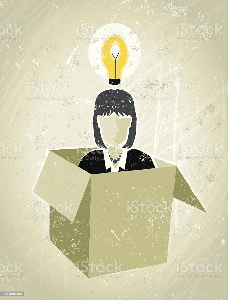 Businesswoman in Box with a Lightbulb Overhead vector art illustration