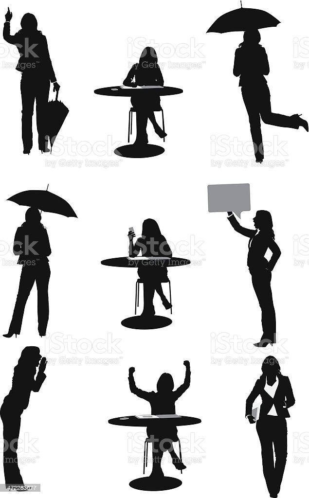 Businesswoman in different situations vector art illustration