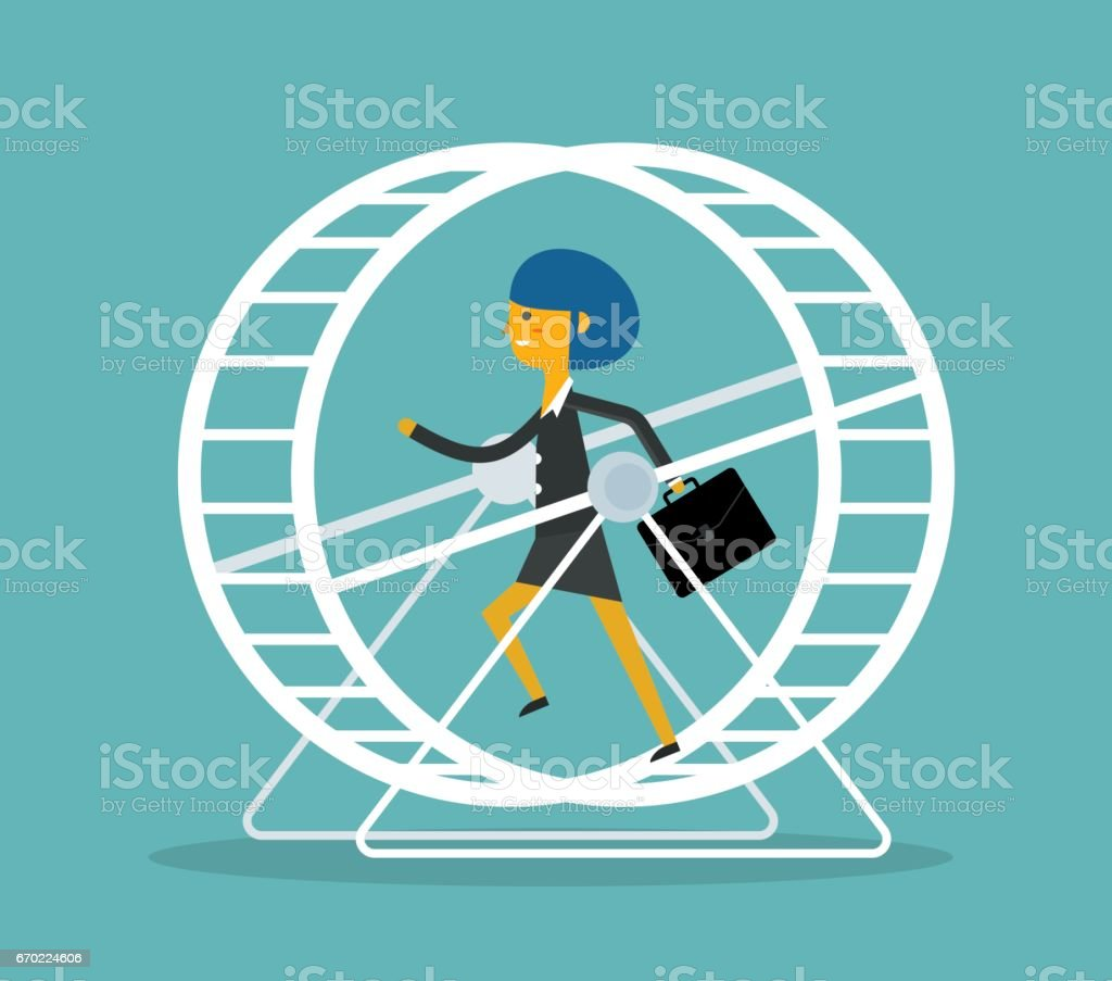 Businesswoman in Hamster Wheel vector art illustration