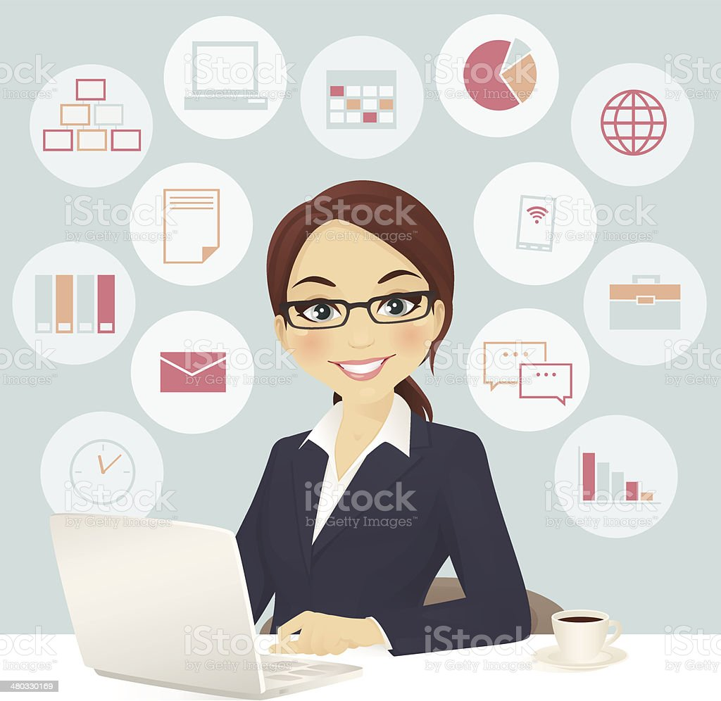 Businesswoman in office vector art illustration