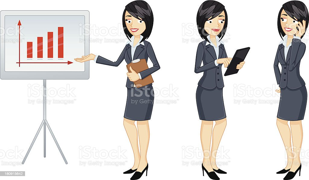 Businesswoman in three versions royalty-free stock vector art