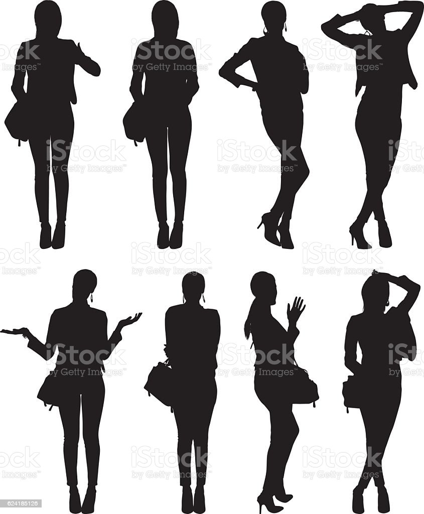 Businesswoman in various action vector art illustration
