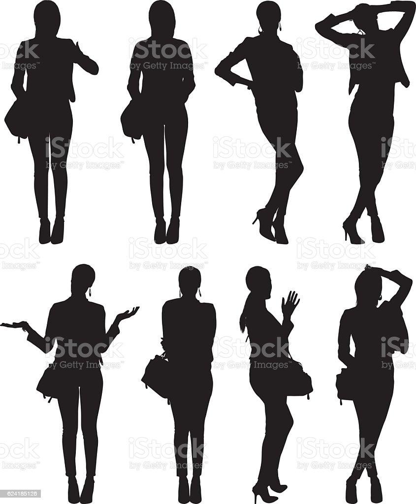 Businesswoman in various action vector art illustration