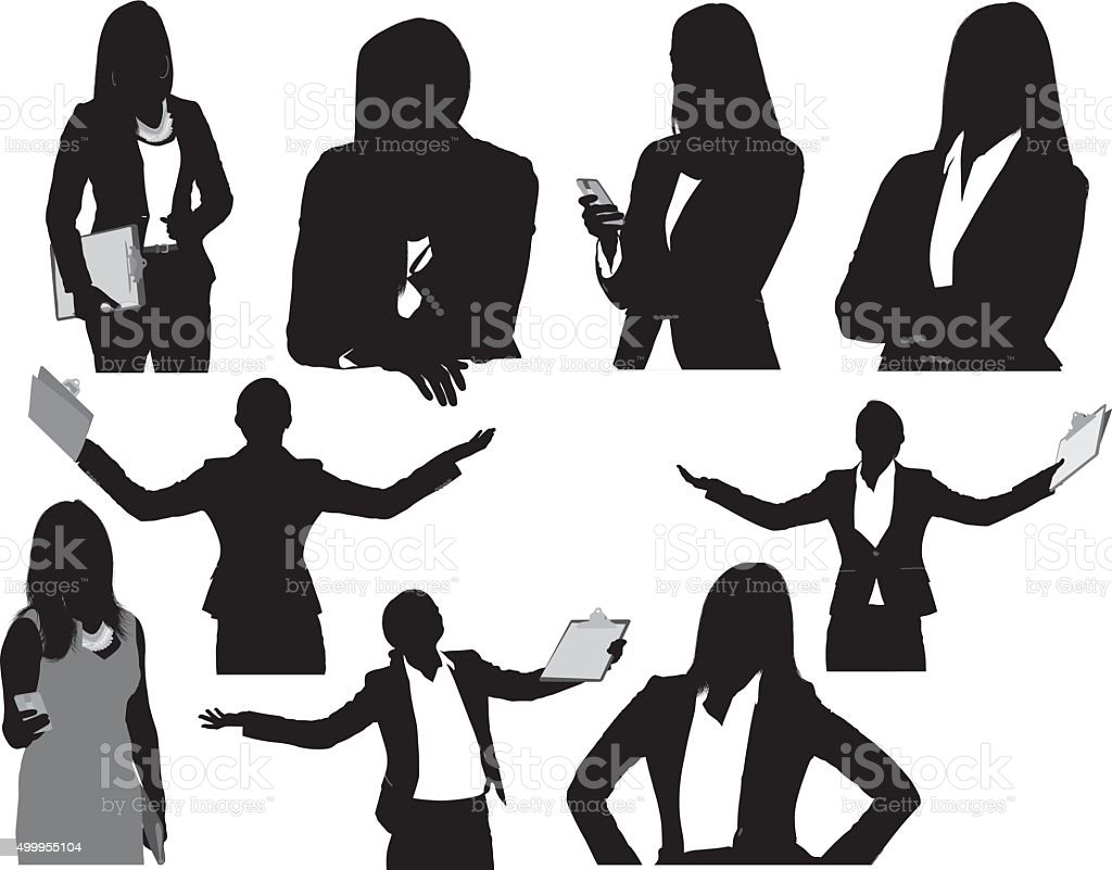 Businesswoman in various actions vector art illustration