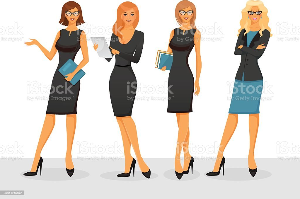Businesswoman in various poses vector art illustration