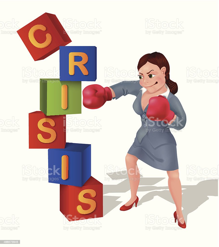 Businesswoman is prevailing over crisis vector art illustration