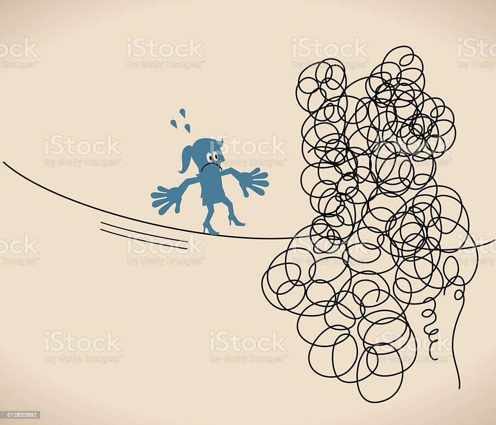 Businesswoman is walking on a tangled messy line (string, rope) vector art illustration