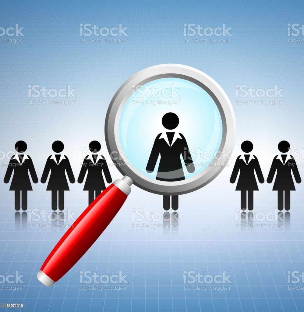 Businesswoman Job Search Concept with Stick Figures royalty-free stock vector art