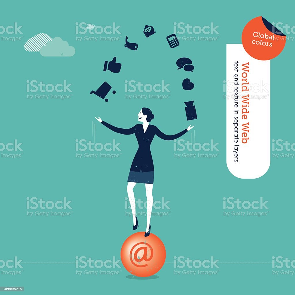 Businesswoman juggler with internet icons vector art illustration