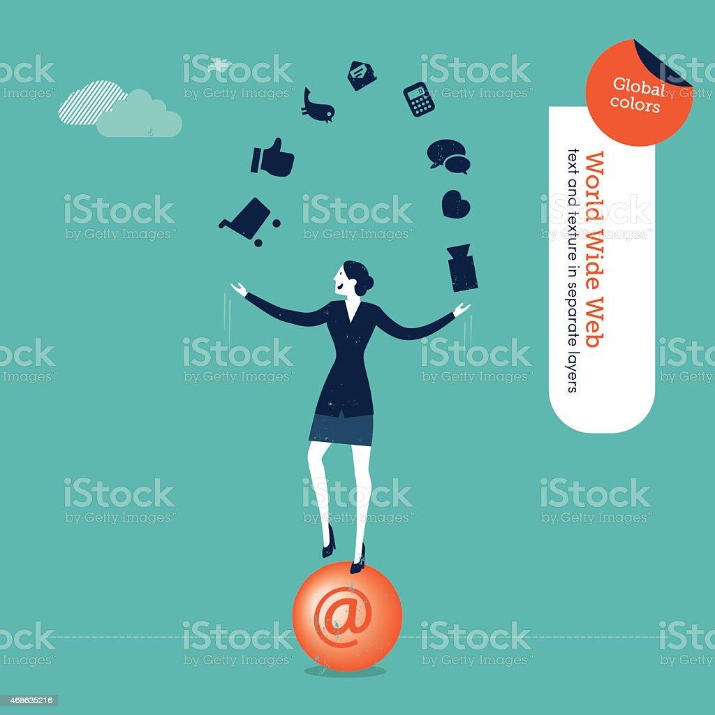 Businesswoman juggler with internet icons vector art illustration