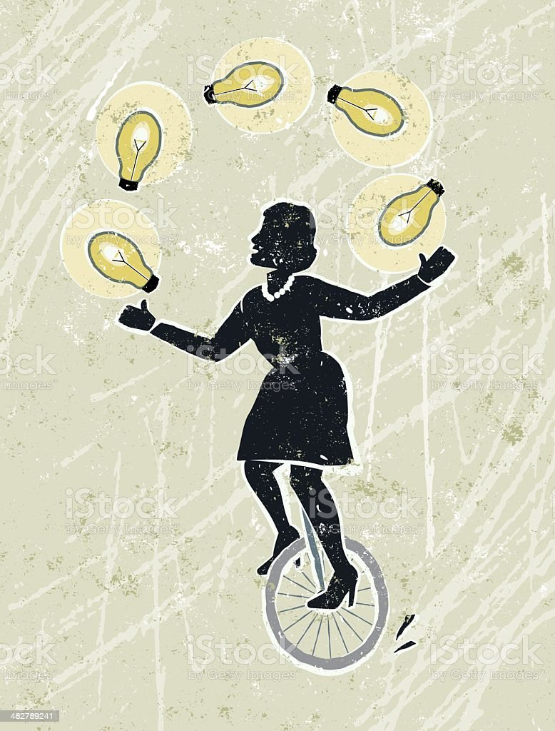 Businesswoman Juggling Idea Light Bulbs on Unicycle royalty-free stock vector art