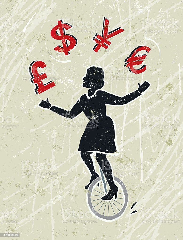 Businesswoman Juggling Pound, Dollar, Yen and Euro Icons on Unicycle vector art illustration