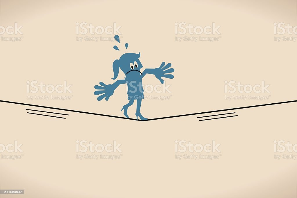 Businesswoman keeping her balance walking on tightrope vector art illustration