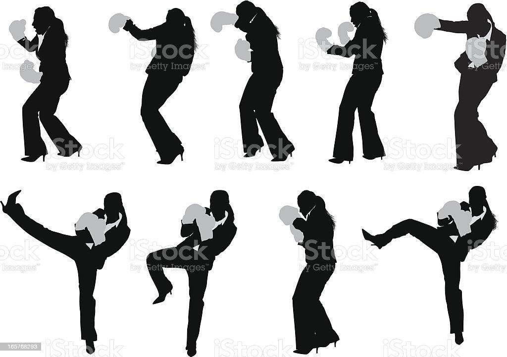 Businesswoman kick boxing in pant suit vector art illustration