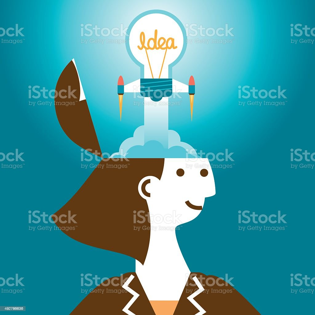 Businesswoman Launching Bright Idea Rocket From Head | New Biz vector art illustration