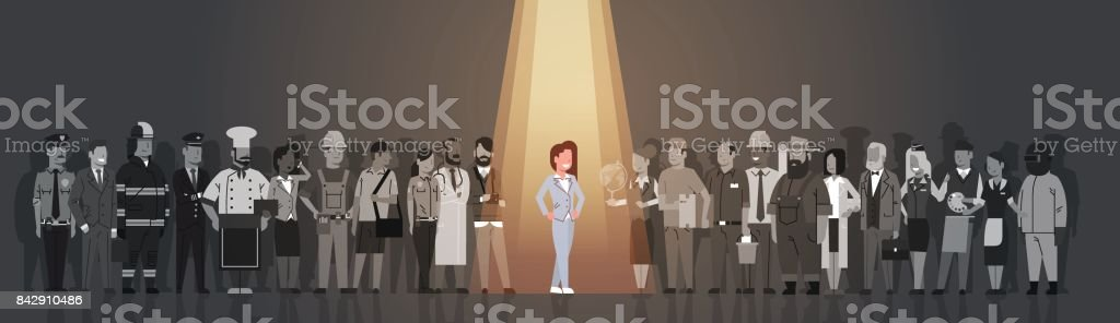 Businesswoman Leader Stand Out From Crowd Individual, Spotlight Hire Human Resource Recruitment Candidate People Group Business Team Concept vector art illustration