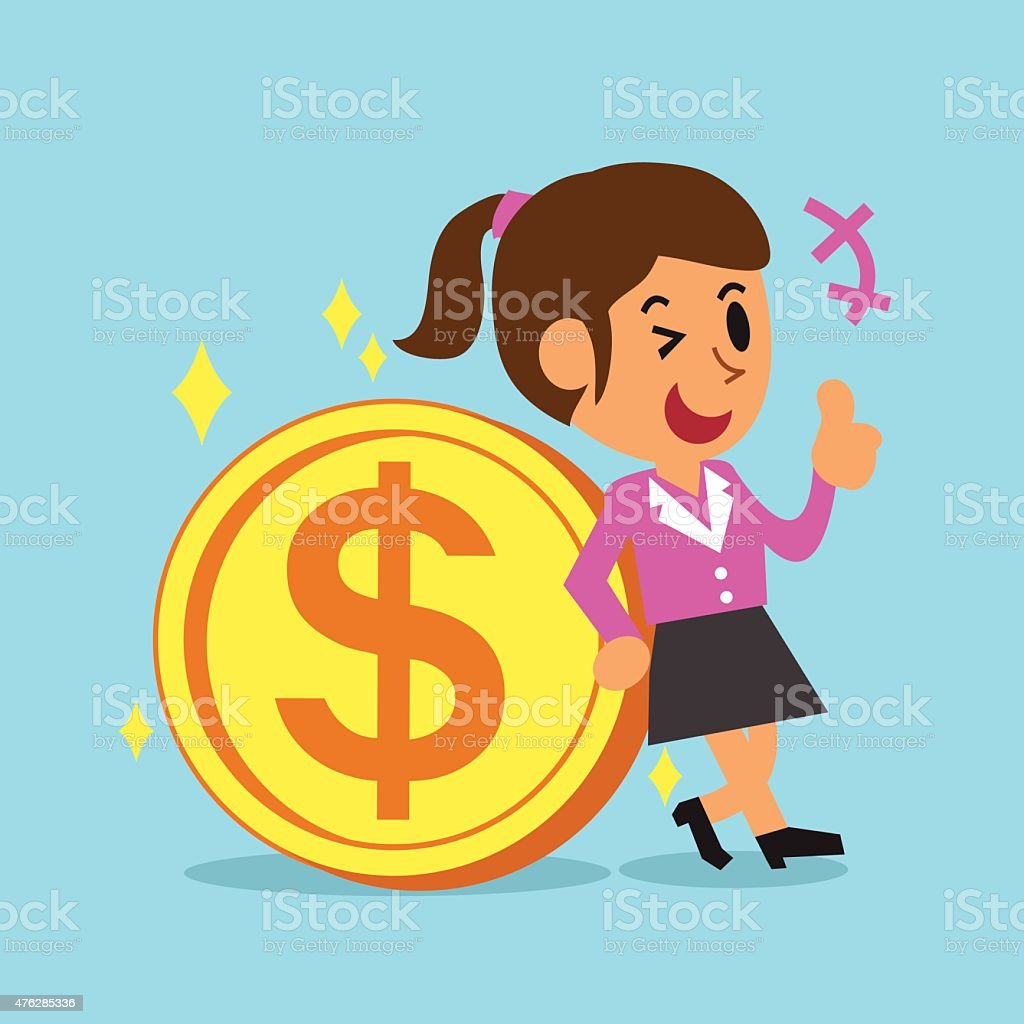 Businesswoman Leaning Against A Big Coin vector art illustration