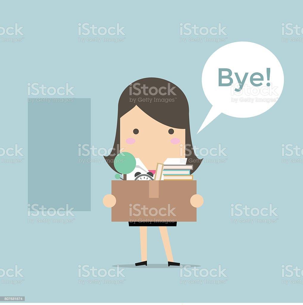 Businesswoman Leaving Job vector vector art illustration