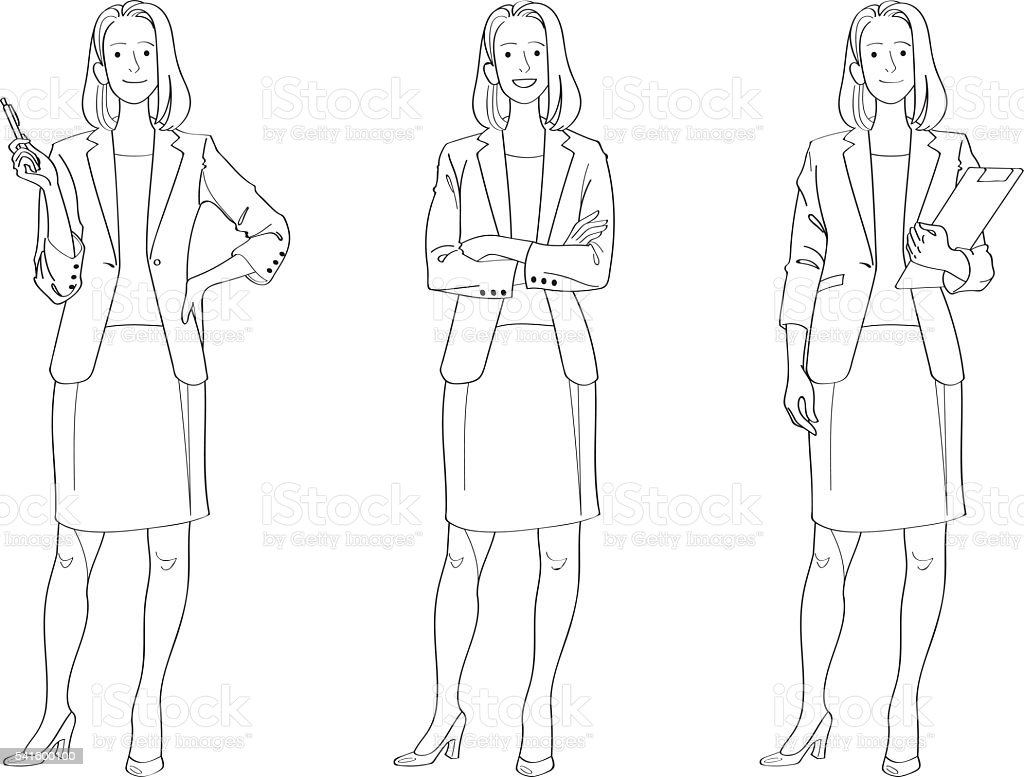 Businesswoman Line Drawing vector art illustration