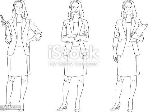 Businesswoman Line Drawing stock vector art 541600100   iStock