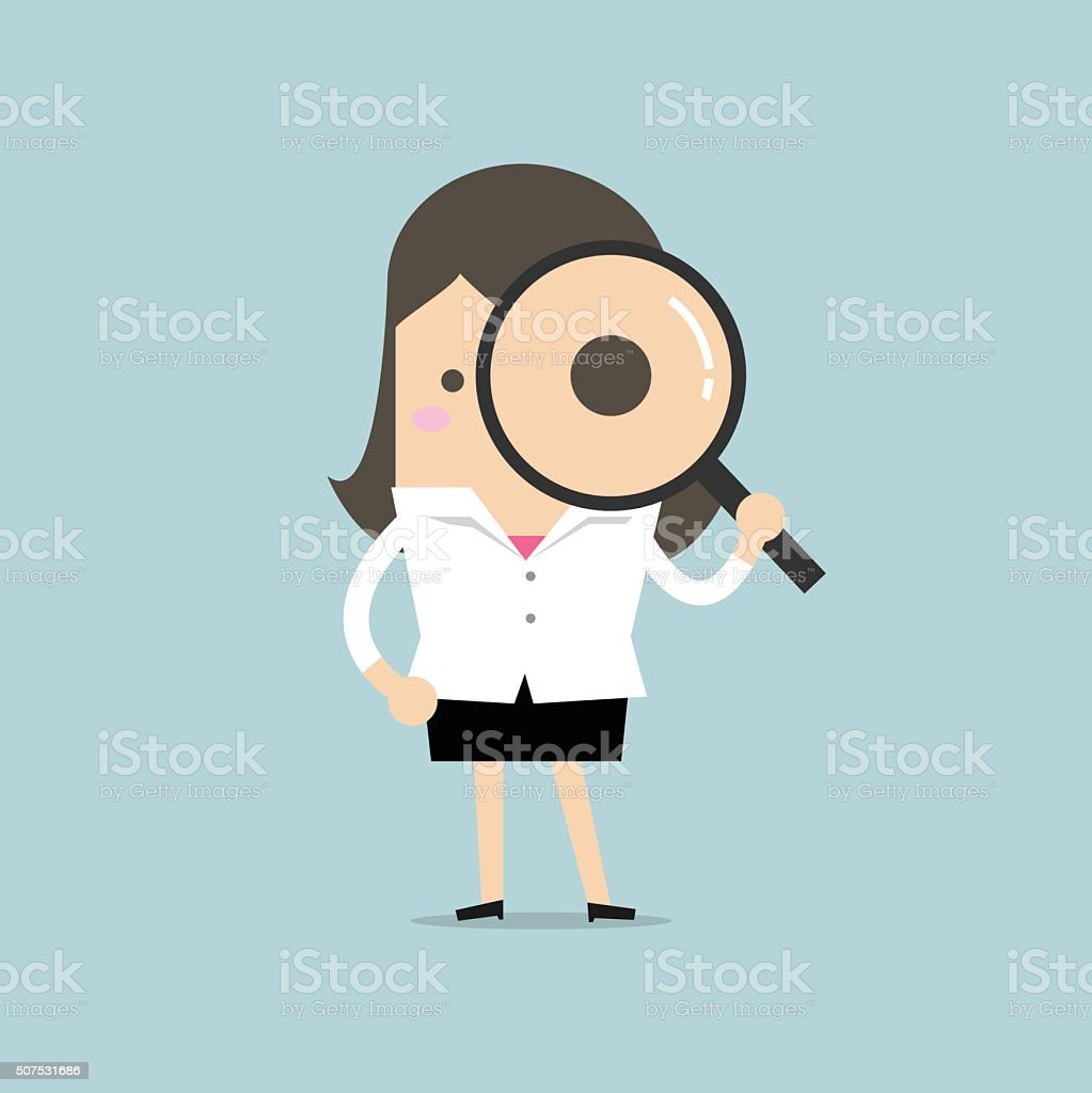 Businesswoman looking through a magnifying glass vector art illustration