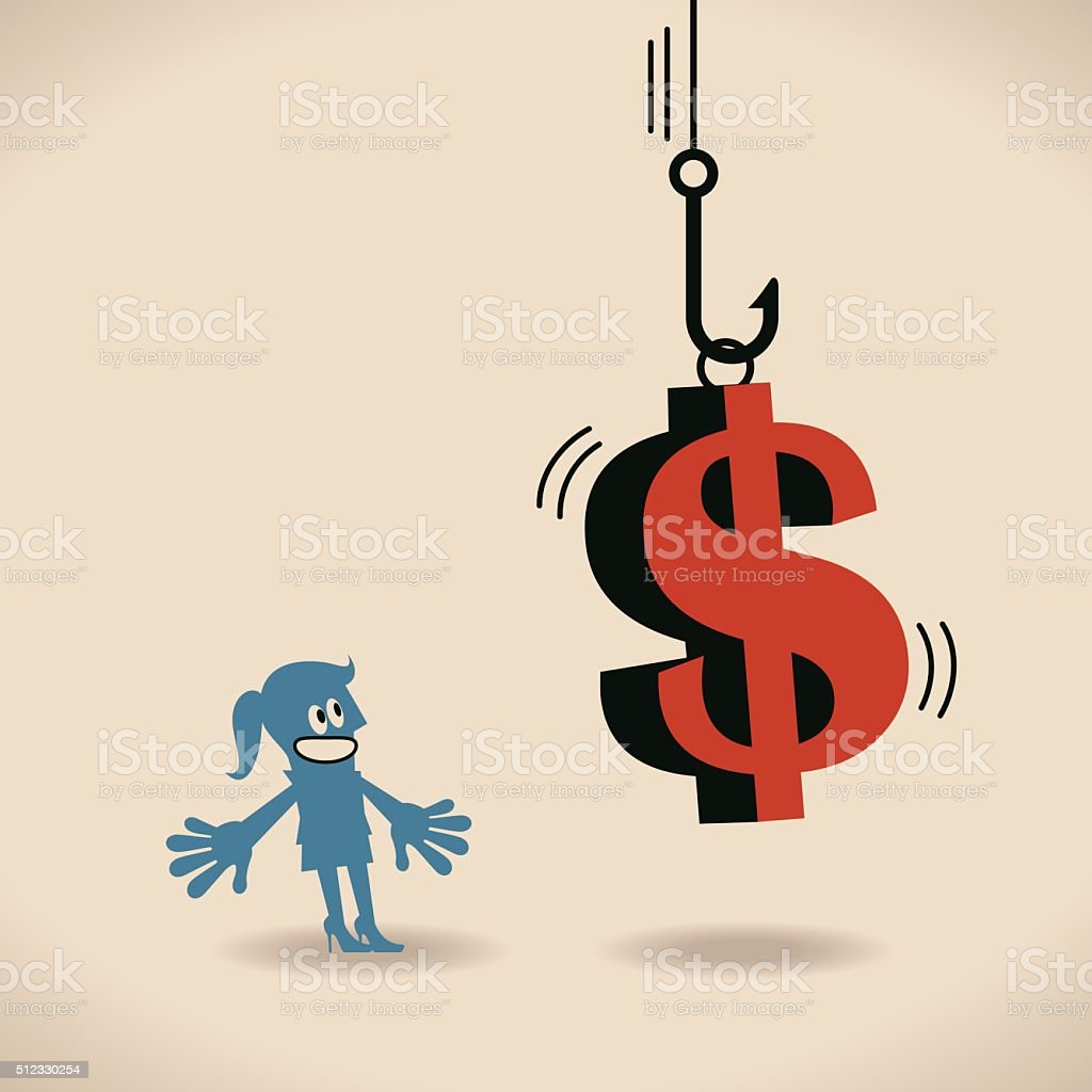 Businesswoman looking up at fishing hook with dollar sign (bait) vector art illustration
