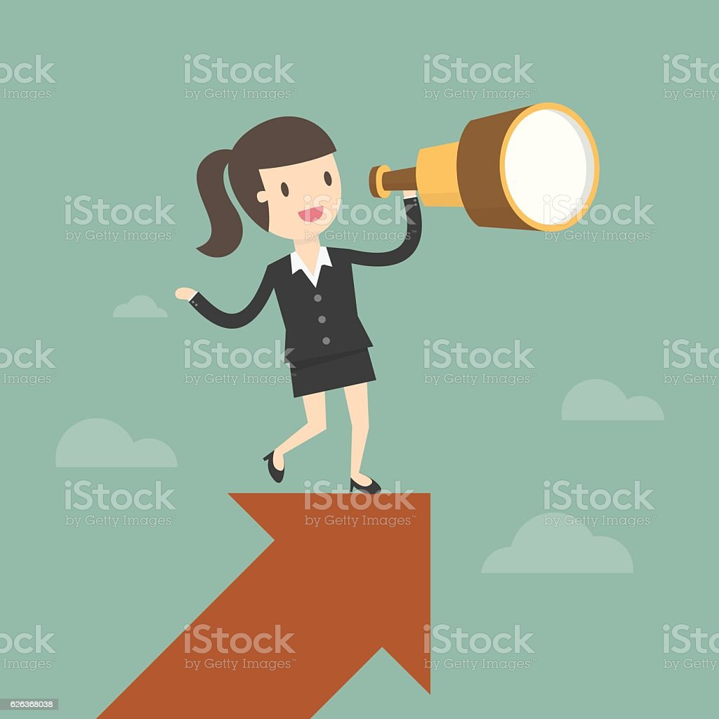 Businesswoman looks through a telescope on growth arrow. vector art illustration
