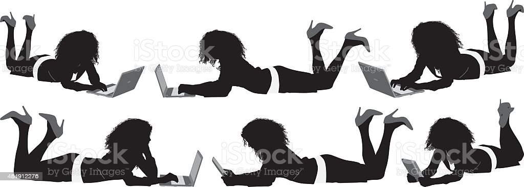 Businesswoman lying down and working on laptop vector art illustration