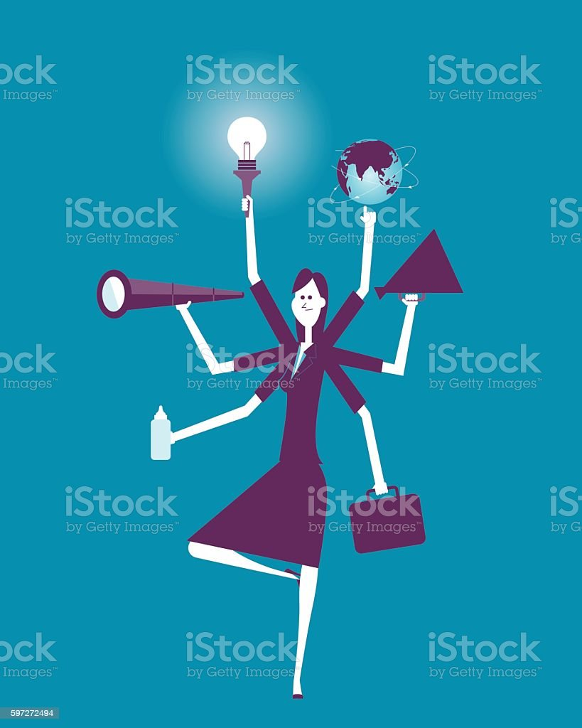 Businesswoman Multitasking with Multiple Arms vector art illustration