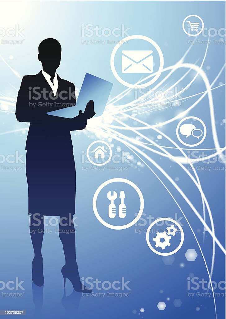Businesswoman on Blue Fiber Optic Background with Internet Icons royalty-free stock vector art