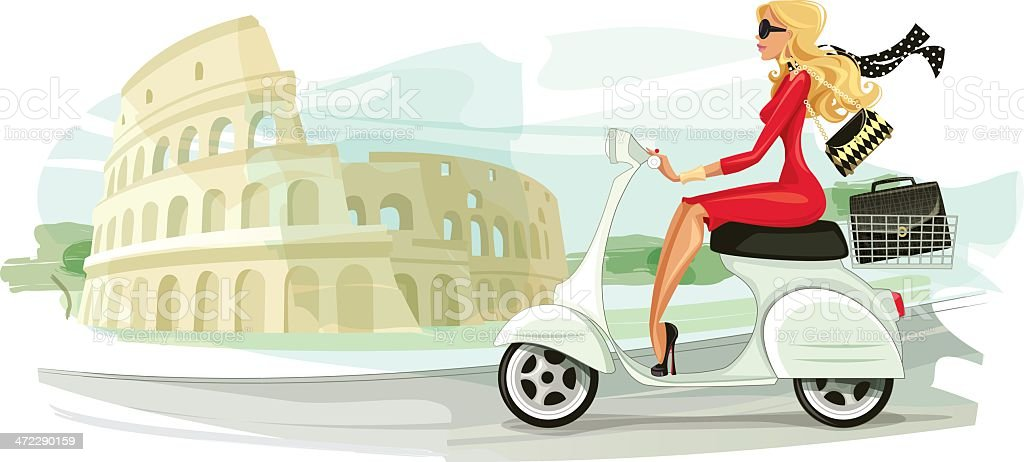 Businesswoman on Scooter in Rome vector art illustration