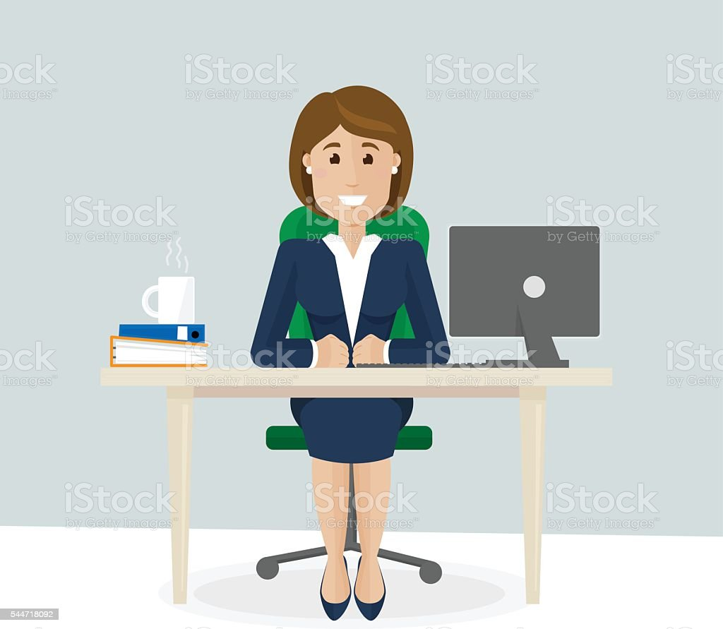 Businesswoman on the work vector art illustration