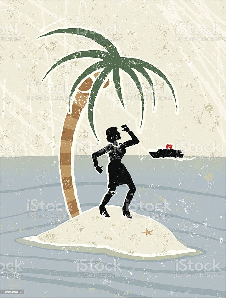 Businesswoman, Palm Tree on Desert Island, with a Boat Approaching vector art illustration