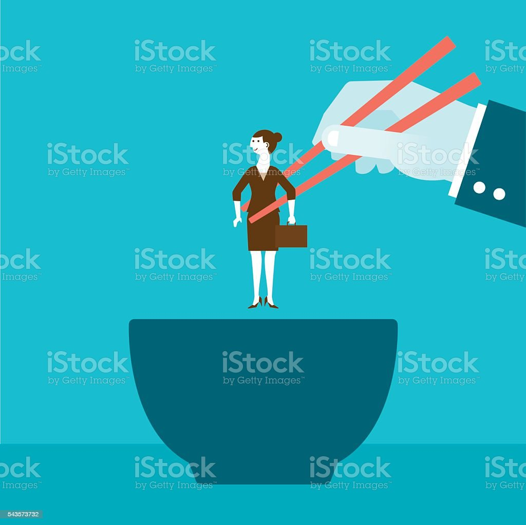 Businesswoman Picked Up by Giant with Chopsticks over Bowl vector art illustration
