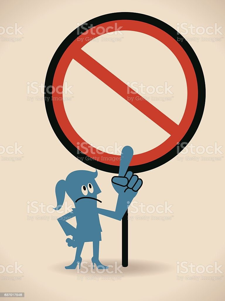 Businesswoman (Politician) pointing at an empty prohibition sign vector art illustration
