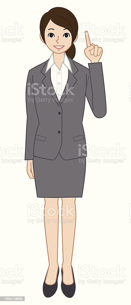 Businesswoman pointing vector art illustration