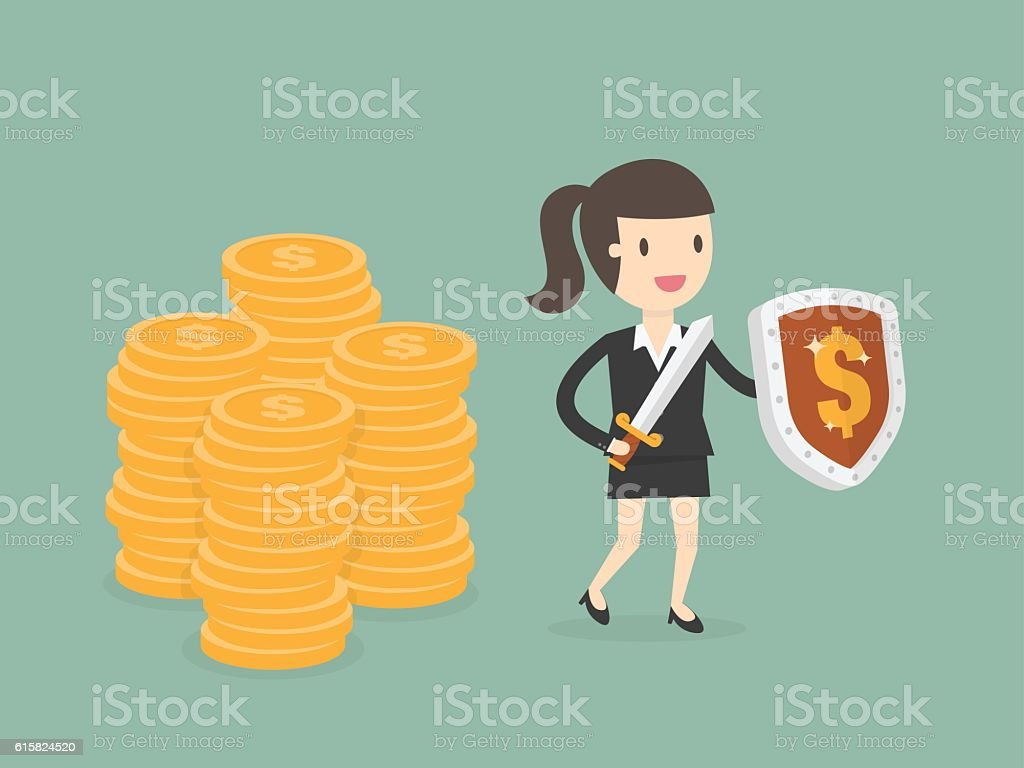 Businesswoman Protecting Money With Shield And Sword. vector art illustration