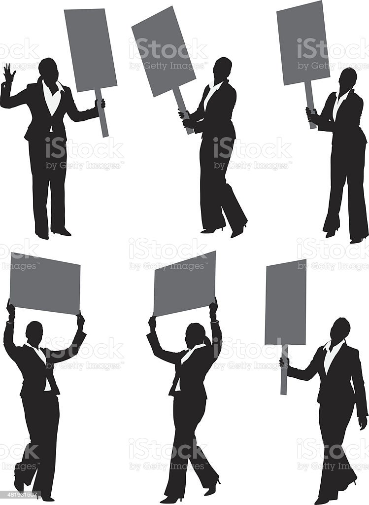 Businesswoman protesting with picket signs royalty-free stock vector art