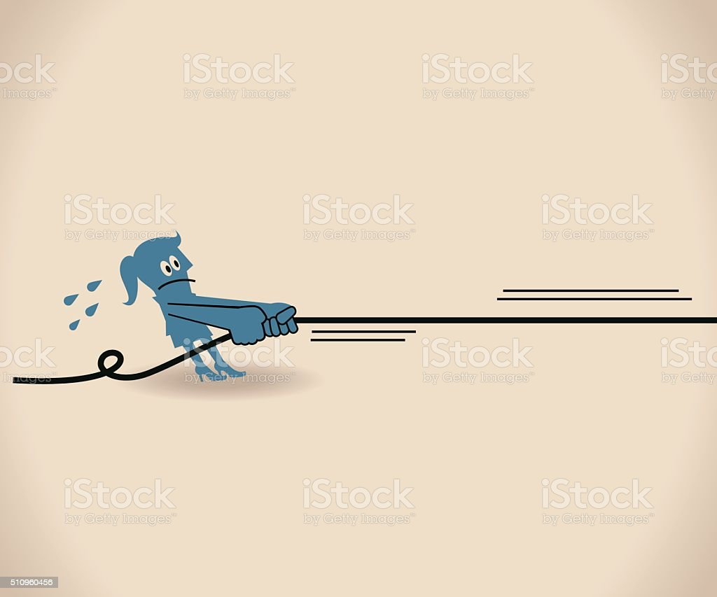 Businesswoman Pulling Something with all her strength with a rope vector art illustration