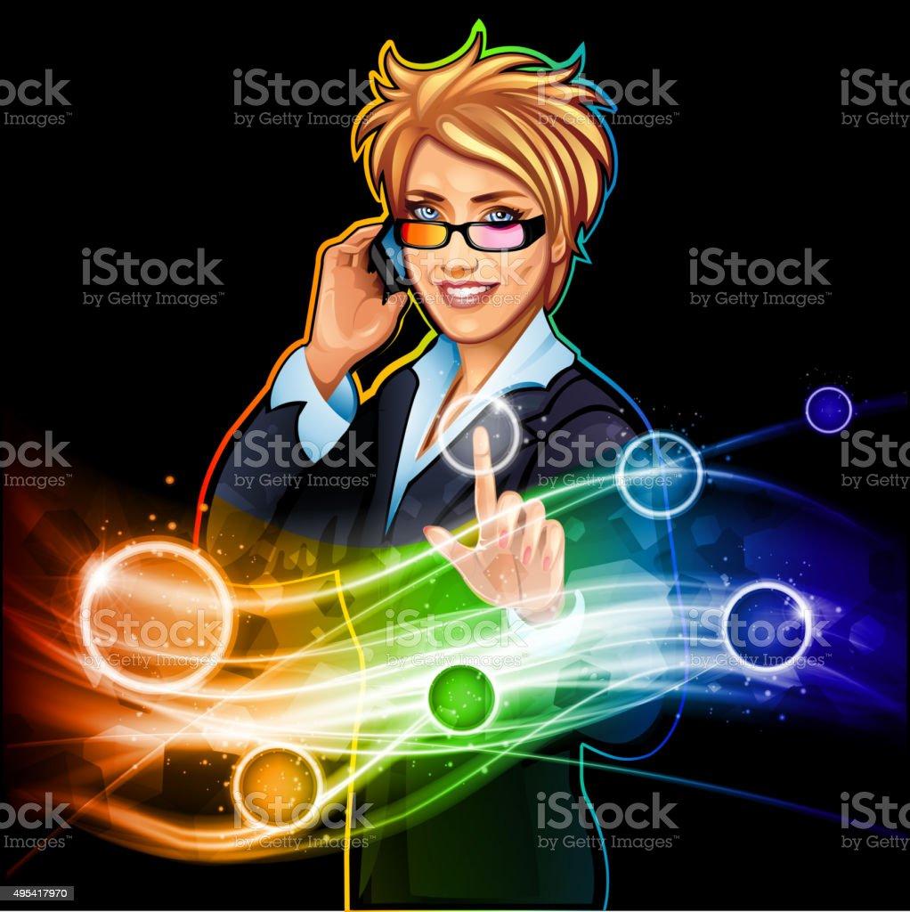 Businesswoman push the button vector art illustration