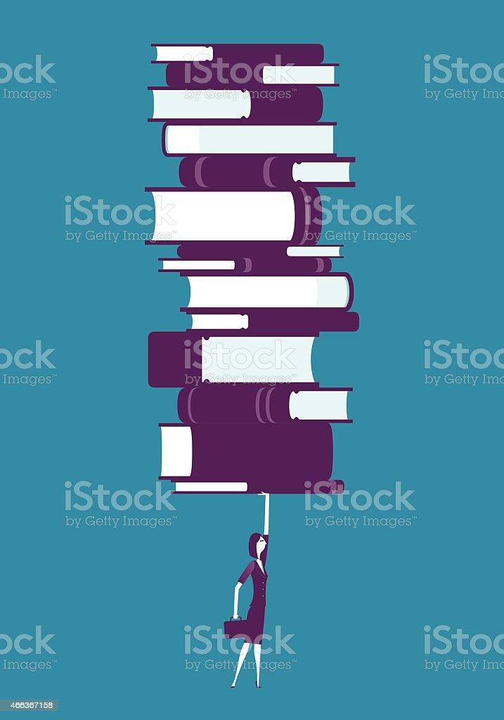 Businesswoman raiseing stack of books vector art illustration