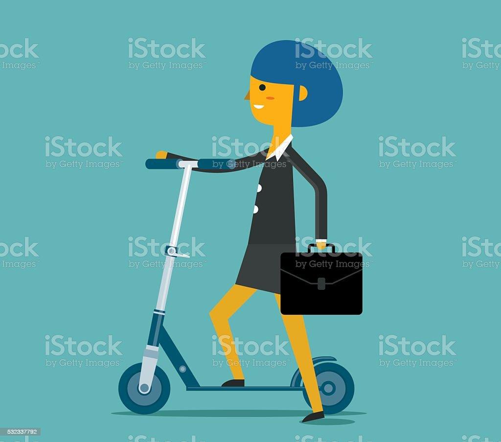 Businesswoman Riding Push Scooter vector art illustration