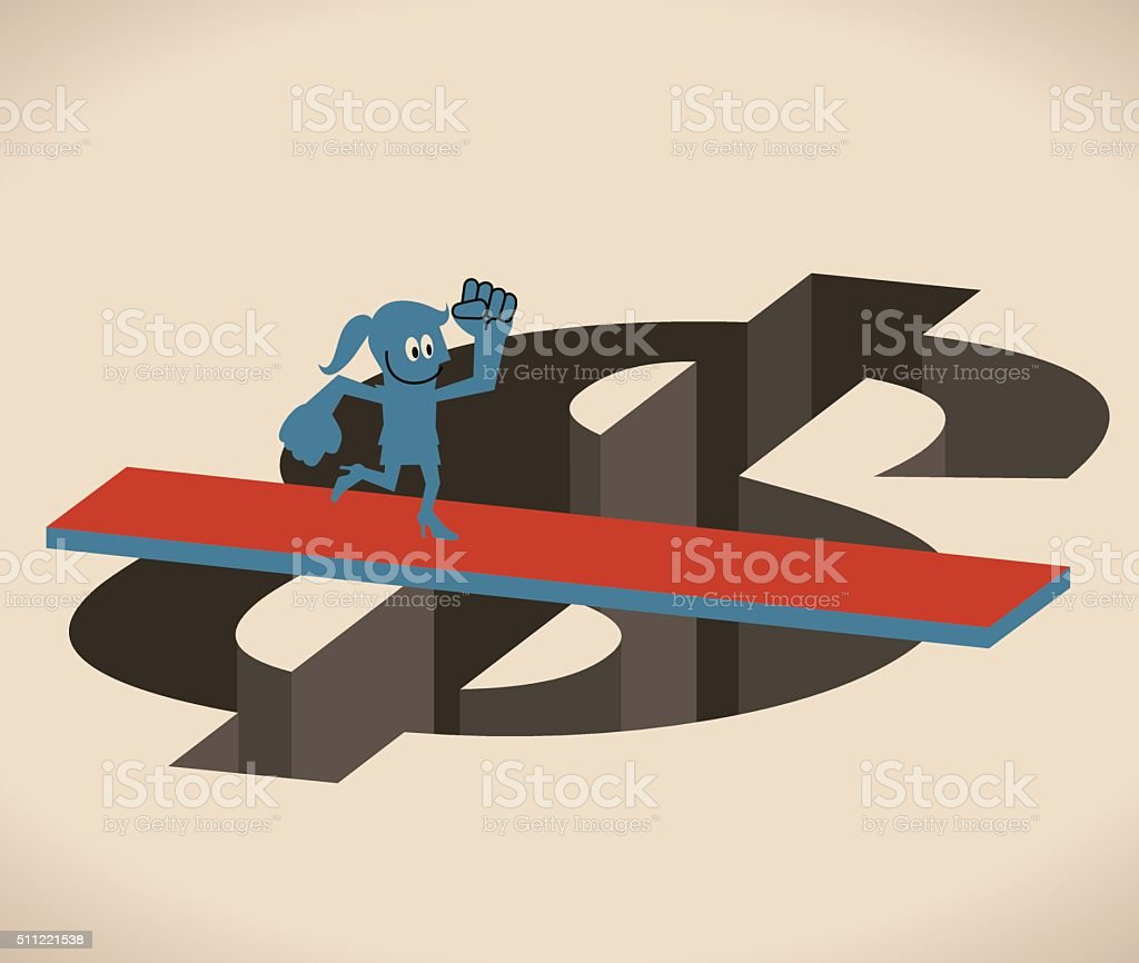 Businesswoman running crossing Dollar hole (gap) by wooden board (bridge) vector art illustration