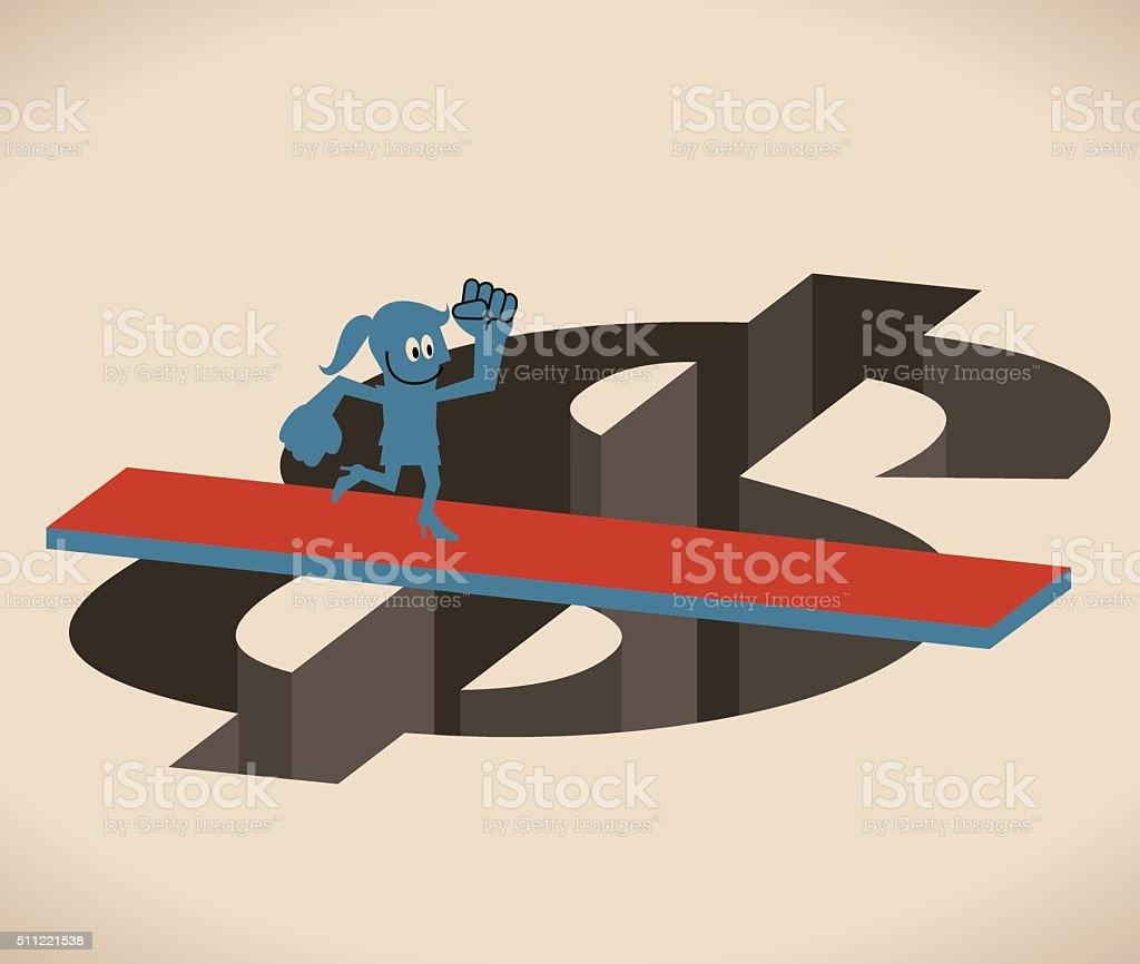 Businesswoman running crossing Dollar hole (gap) by wooden board (bridge) vector art illustration