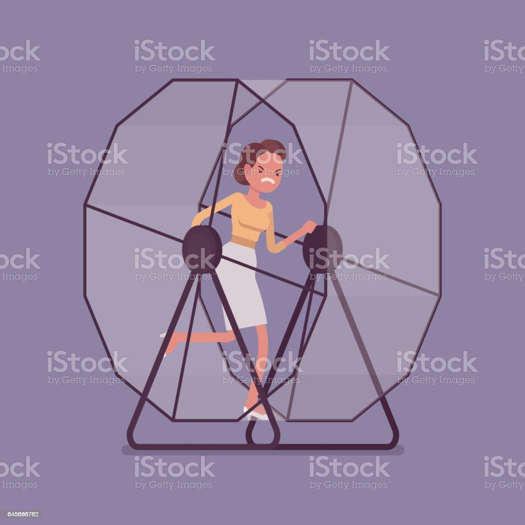Businesswoman running in a mouse wheel vector art illustration